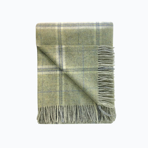 Windowpane Wool Blanket in Sage - James & May