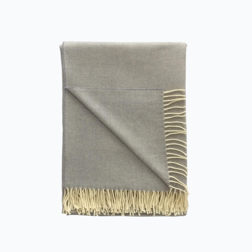 XL Herringbone Lambswool Blanket in Smoke - James & May