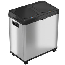 Load image into Gallery viewer, 16 Gallon Stainless Steel Combo Sensor Recycle and Trash Can