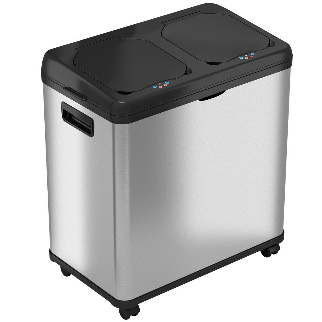 16 Gallon Stainless Steel Combo Sensor Recycle and Trash Can