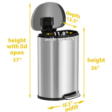 Load image into Gallery viewer, 13 Gallon Stainless Steel Semi-Round Soft Step with Plastic Liner