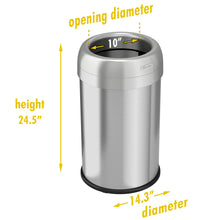 Load image into Gallery viewer, 13 Gallon Stainless Steel Round Open Top