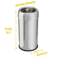 Load image into Gallery viewer, 16 Gallon Stainless Steel Round Open Top