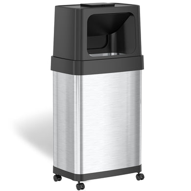 18 Gallon Dual Push Door Rectangular Stainless Steel Trash Can with AbsorbX Odor Control and Wheels