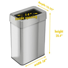 Load image into Gallery viewer, 18 Gallon Stainless Steel Rectangular Open Top