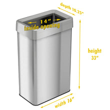 Load image into Gallery viewer, 21 Gallon Stainless Steel Rectangular Open Top