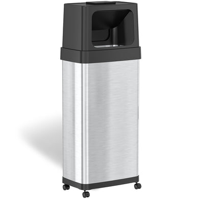 24 Gallon Dual Push Door Rectangular Stainless Steel Trash Can with AbsorbX Odor Control and Wheels