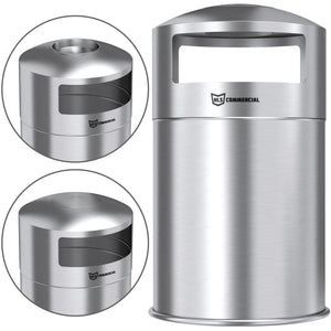 50 Gallon Dual Side-Entry Stainless Steel Round Trash Can with Removable Ashtray