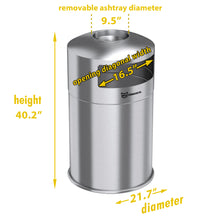 Load image into Gallery viewer, 50 Gallon Dual Side-Entry Stainless Steel Round Trash Can with Removable Ashtray