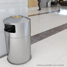 Load image into Gallery viewer, 50 Gallon Indoor / Outdoor Dual Side-Entry Stainless Steel Round Trash Can with Removable Ashtray