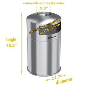 50 Gallon Indoor / Outdoor Dual Side-Entry Stainless Steel Round Trash Can with Removable Ashtray