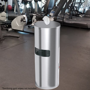 9 Gallon Stainless Steel Trash Can with Sanitizer Gym Wipe Dispenser