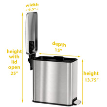Load image into Gallery viewer, 3 Gallon Stainless Steel Soft Step Trash Can with Plastic Liner
