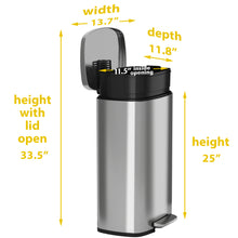 Load image into Gallery viewer, 8 Gallon Stainless Steel Soft Step  with Plastic Liner