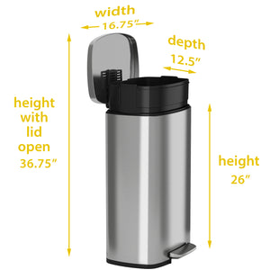 13 Gallon Stainless Steel Soft Step  with Plastic Liner