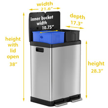 Load image into Gallery viewer, 16 Gallon Stainless Steel Combination Recycle and Step Trash Can