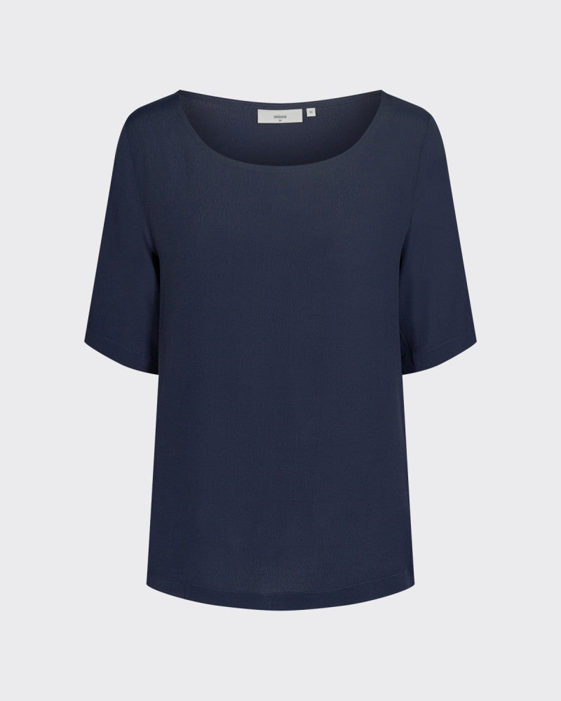 Load image into Gallery viewer, Elvire Short Sleeved Blouse (Navy Blazer) - Minimum
