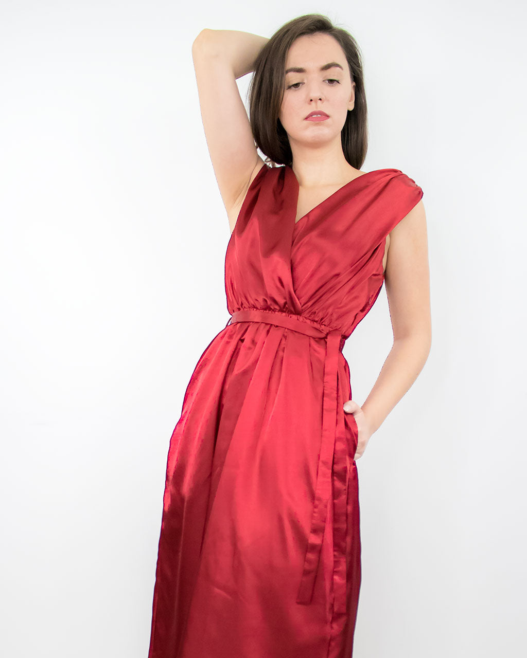 Rust red burgundy midi occassion dress for prom wedding guest cocktail party with pockets made from recycled PET satin ADKN