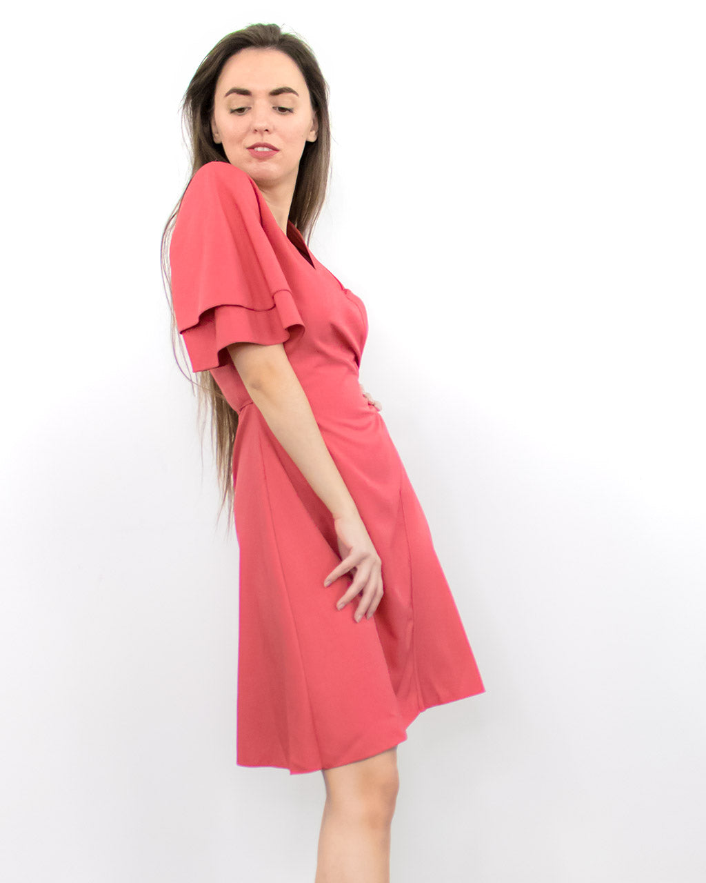 Isla Rose Red Short Sleeve Wrap Dress