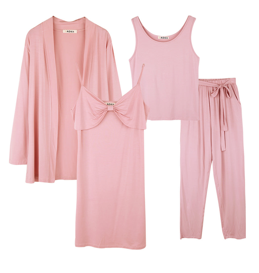 Bamboo Womens Loungewear & Nightwear 4 Piece Set - Blush Pink