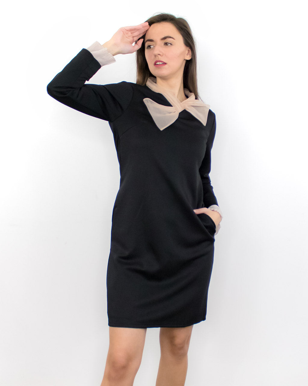 Lana Black Shift Dress with Pockets
