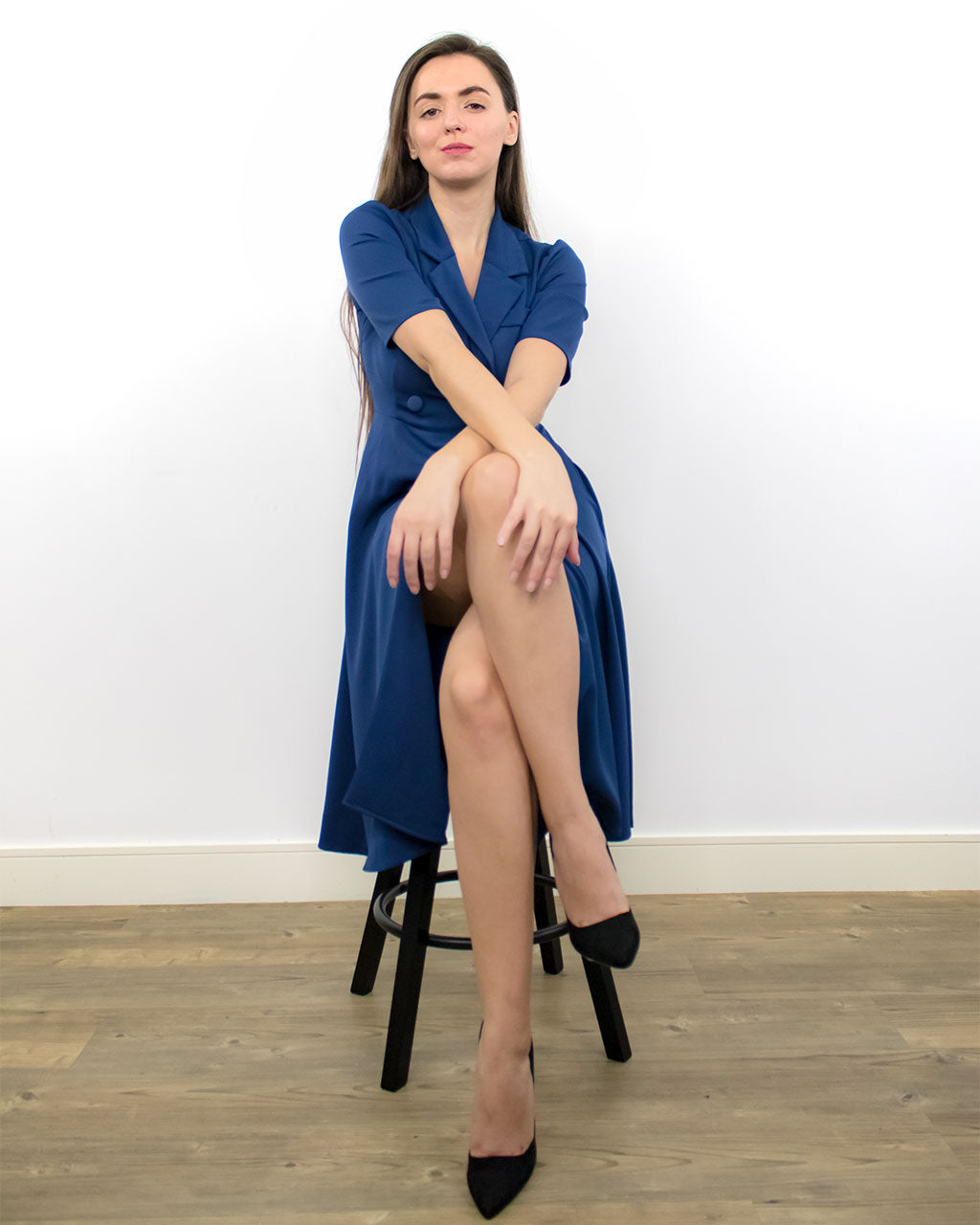 Farrah Blue Wrap Dress with Short Sleeves