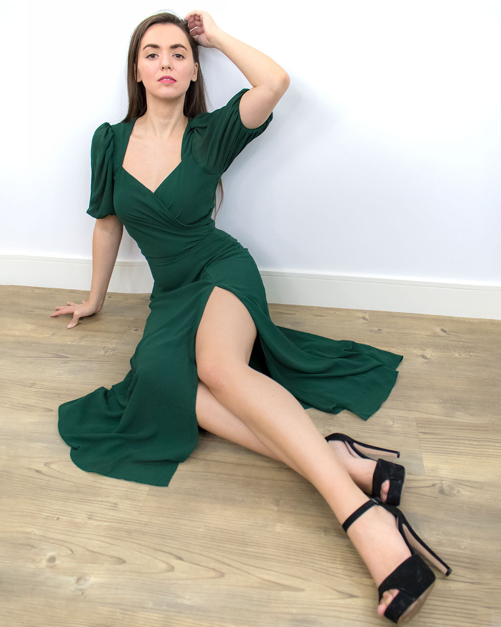 Freya Emerald Green Sweetheart Midi Dress