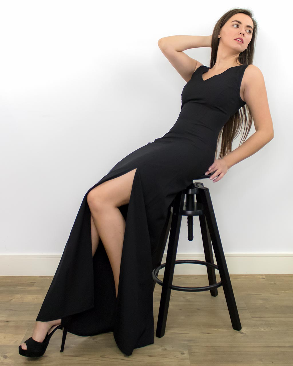 Aera Fitted Long Black Dress with Thigh Slit