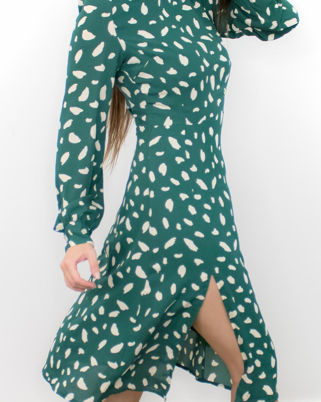 Fawn Green Long Sleeve Dress with Slit
