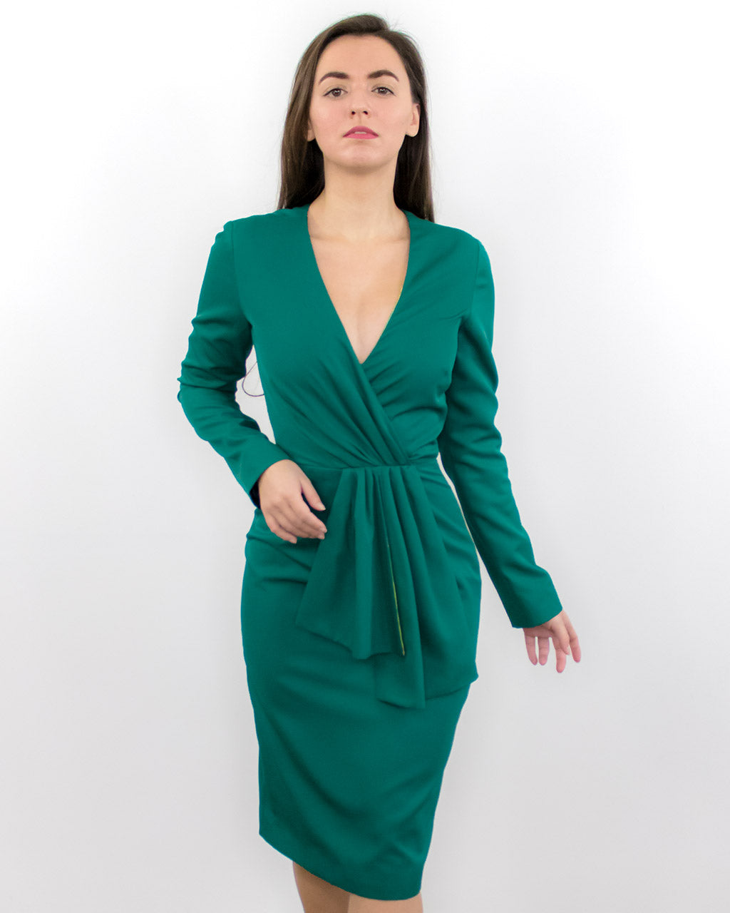 Agnes Emerald Green Fitted Midi Dress with V-neck