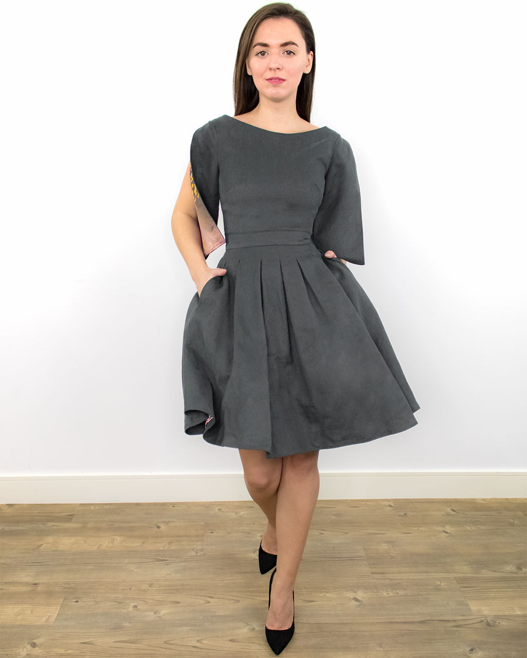 Candida Grey Skater Dress with Pockets