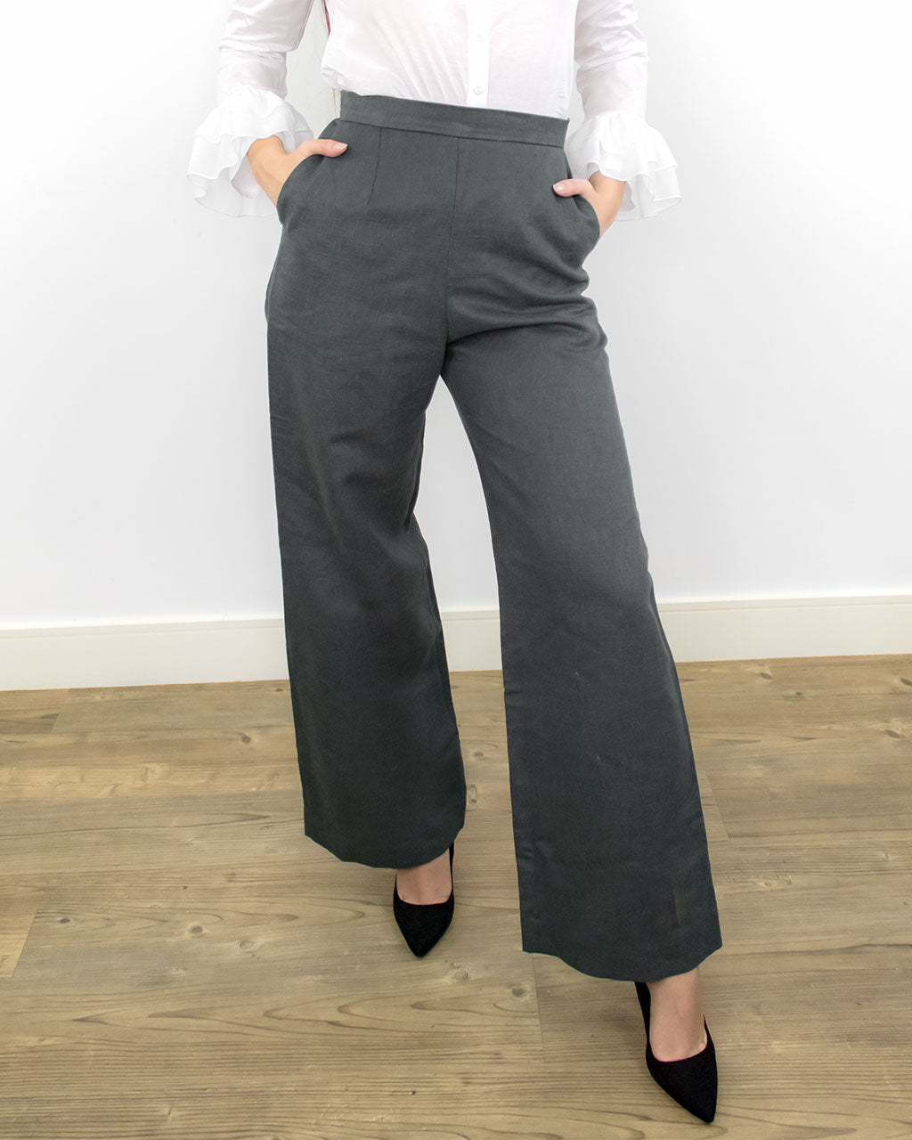 Hylas Grey High-Waisted Wide Leg Trousers