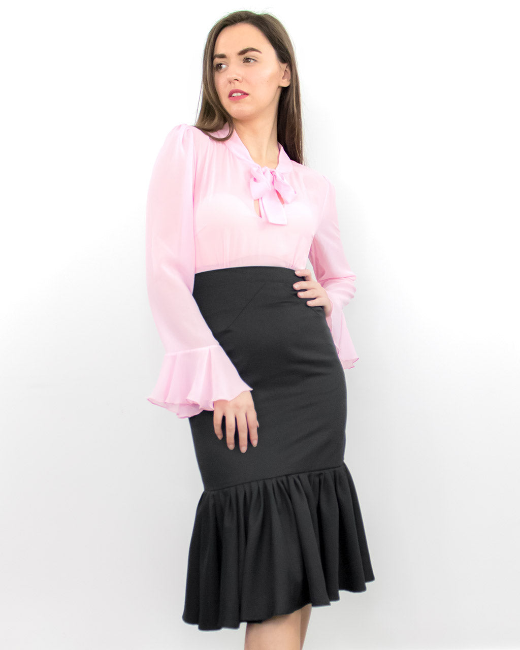 Myrto Black Pencil Ruffle Midi Skirt