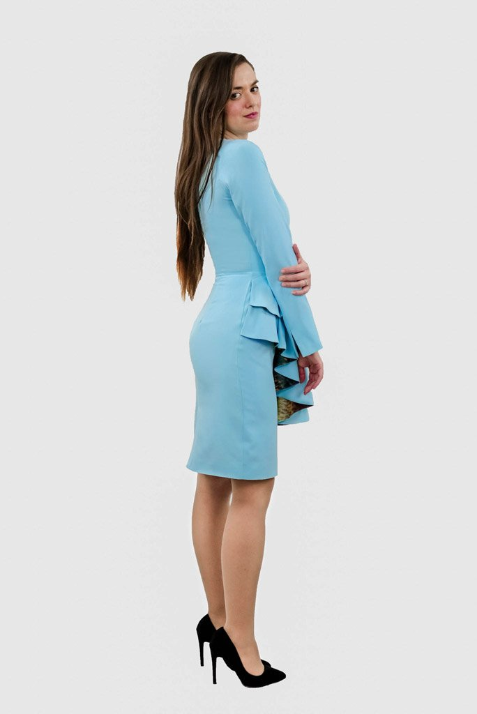 Profile view of ADKN's sustainable recycled pencil Abel Dress perfect for weddings bridesmaids cocktail party