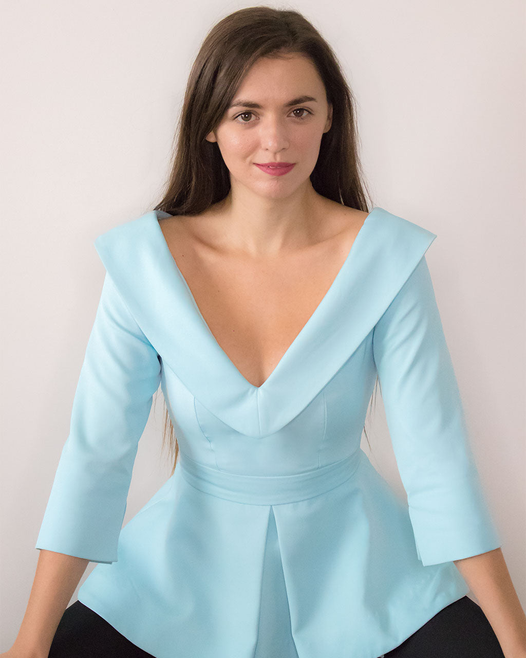 Pastel baby blue 3/4 sleeve lapel party top peplum off the shoulder Blouse by ADKN glamorous evening smart tops for weddings