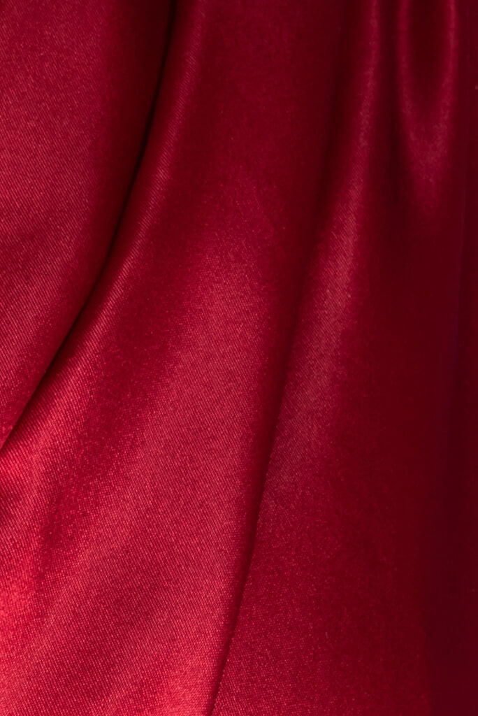 ADKN Maia Dress sustainable red satin silk fabric ethically made from 100% recycled post-consumer plastic bottles