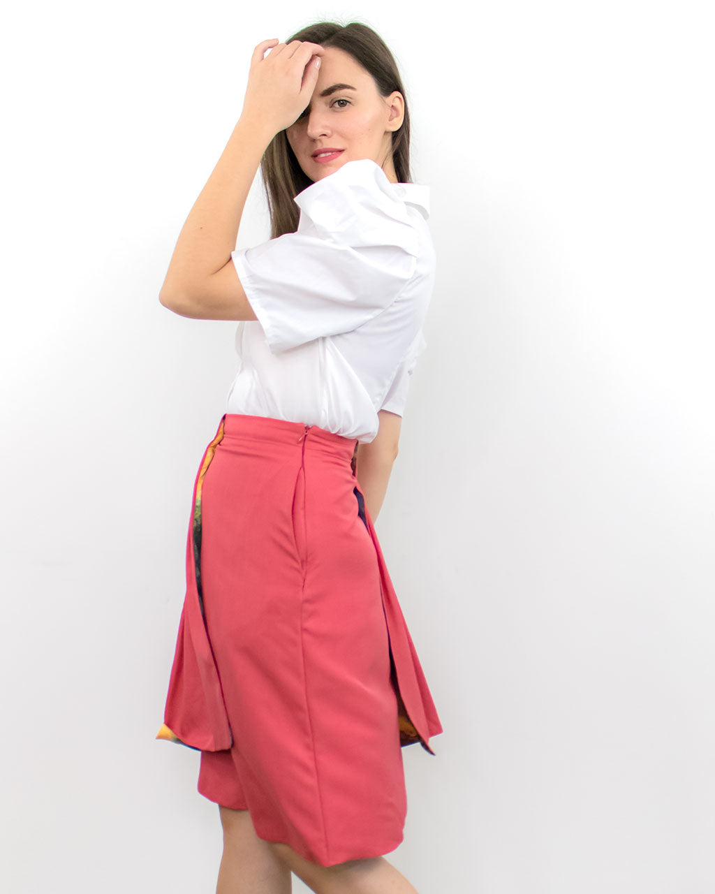 Luxury designer high waisted red double layer flowy flare straight skirt ADKN ethically made in UK from sustainable materials