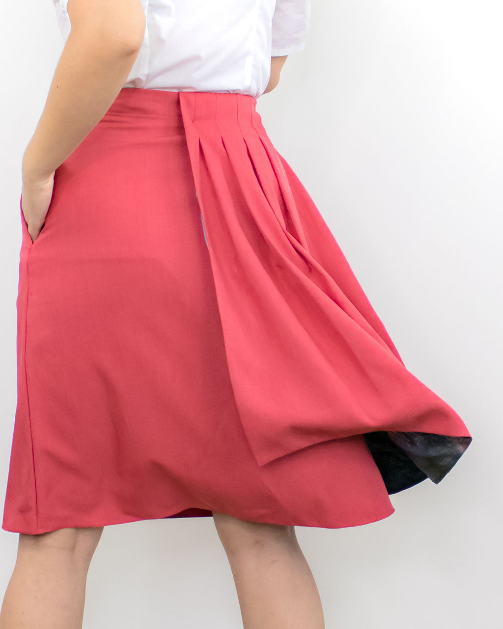 Ethical formal straight elegant a-line smart office skirt with pleats by ADKN made with sustainable recycled plastic bottles