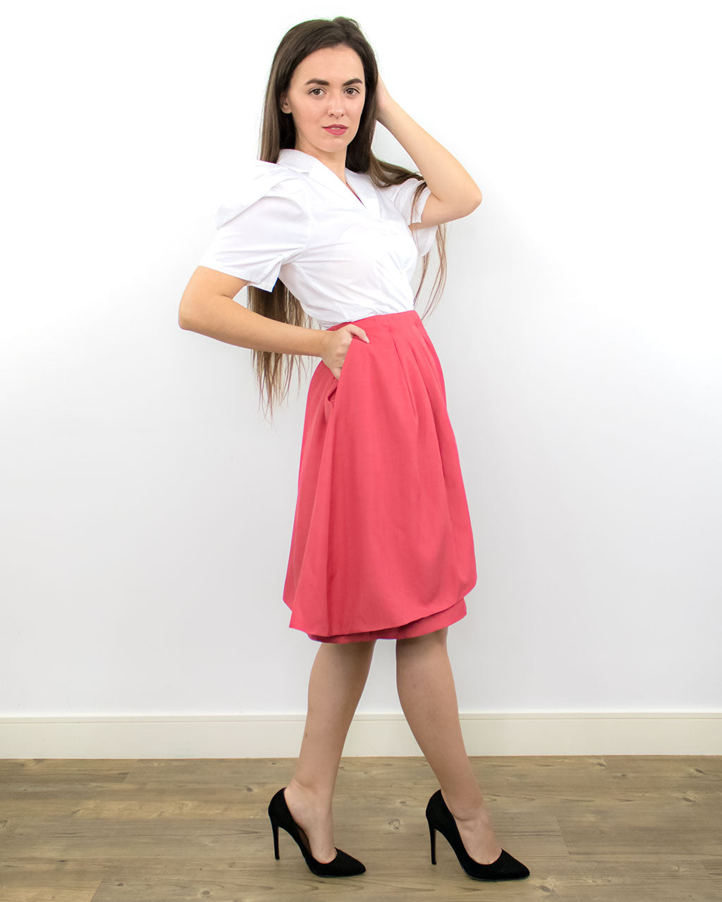 Recycled sustainable double layer modern classic straight office party wedding guest designer skirt ethically made by ADKN UK