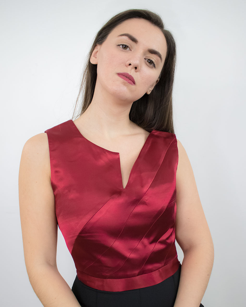 Eirene Red Satin Crop Top