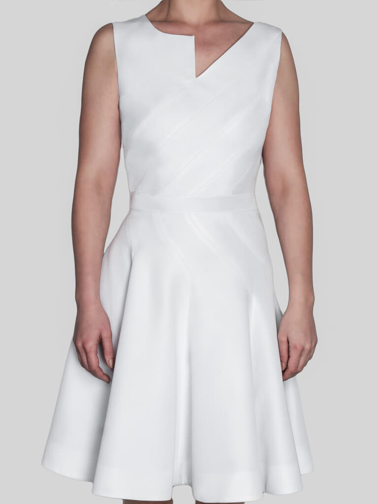 Sleveless occasion formal skater fit & flare white recycled dress for spring weddings Eirene by ADKN ethically made in UK