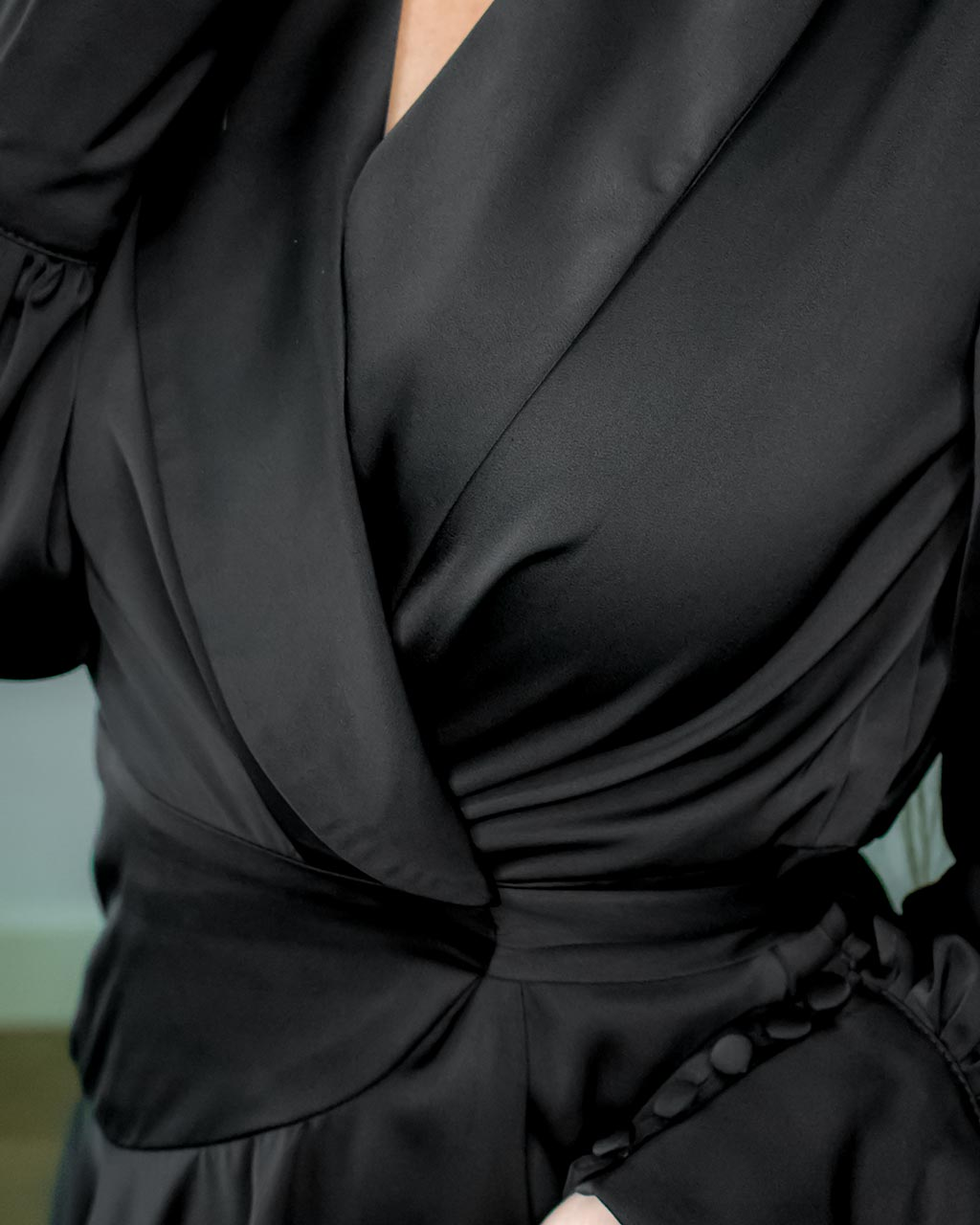 Elye Mini Black Satin Wrap Dress