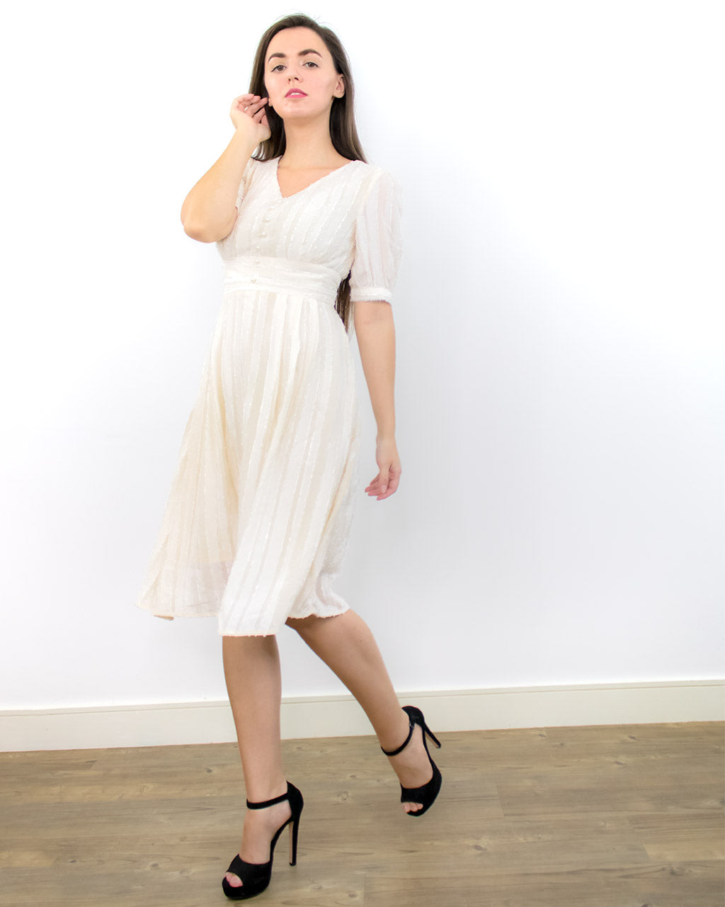 Brielle White Boho Broderie Puff Sleeve Dress