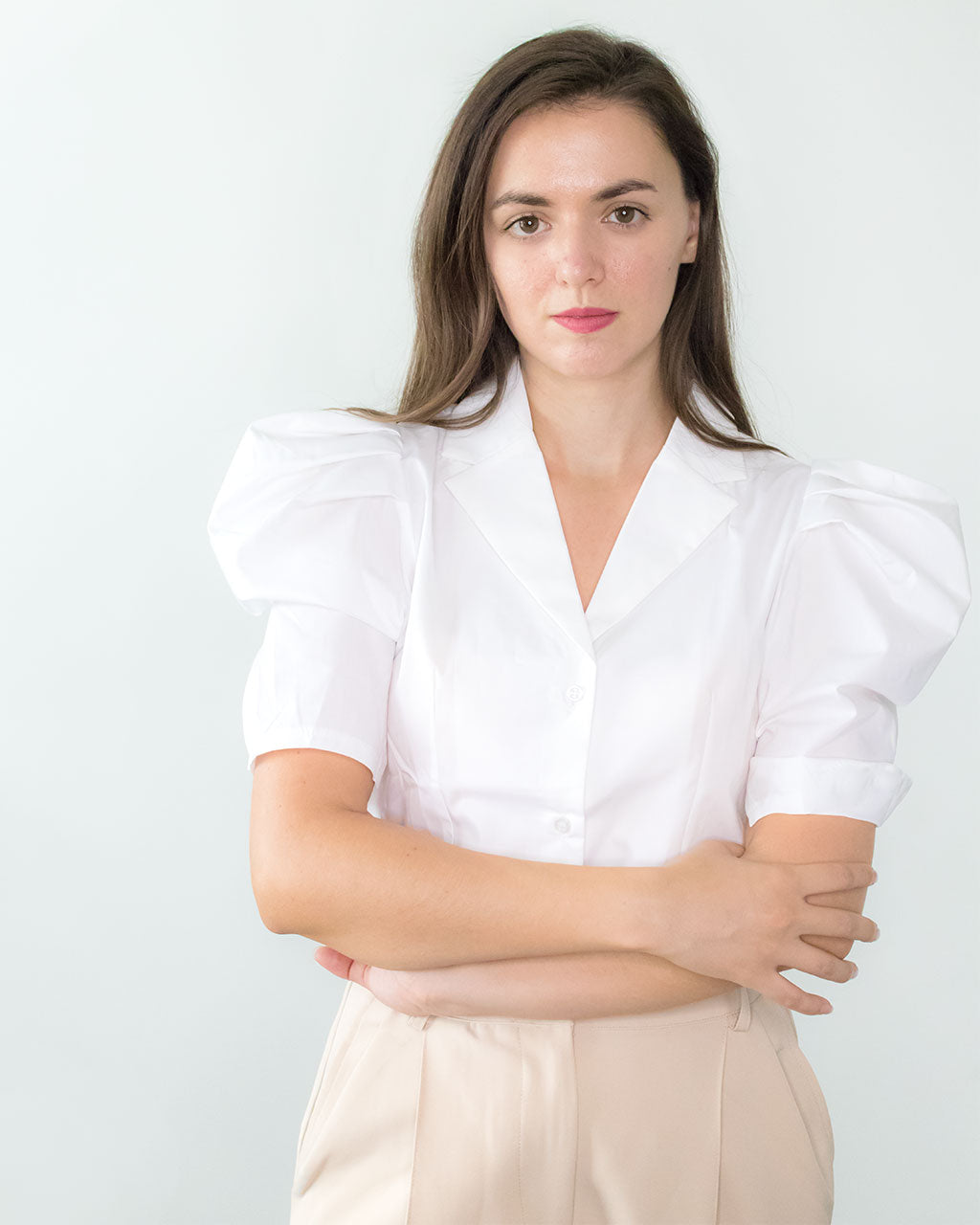 Quin White Short Puff Sleeve Blouse