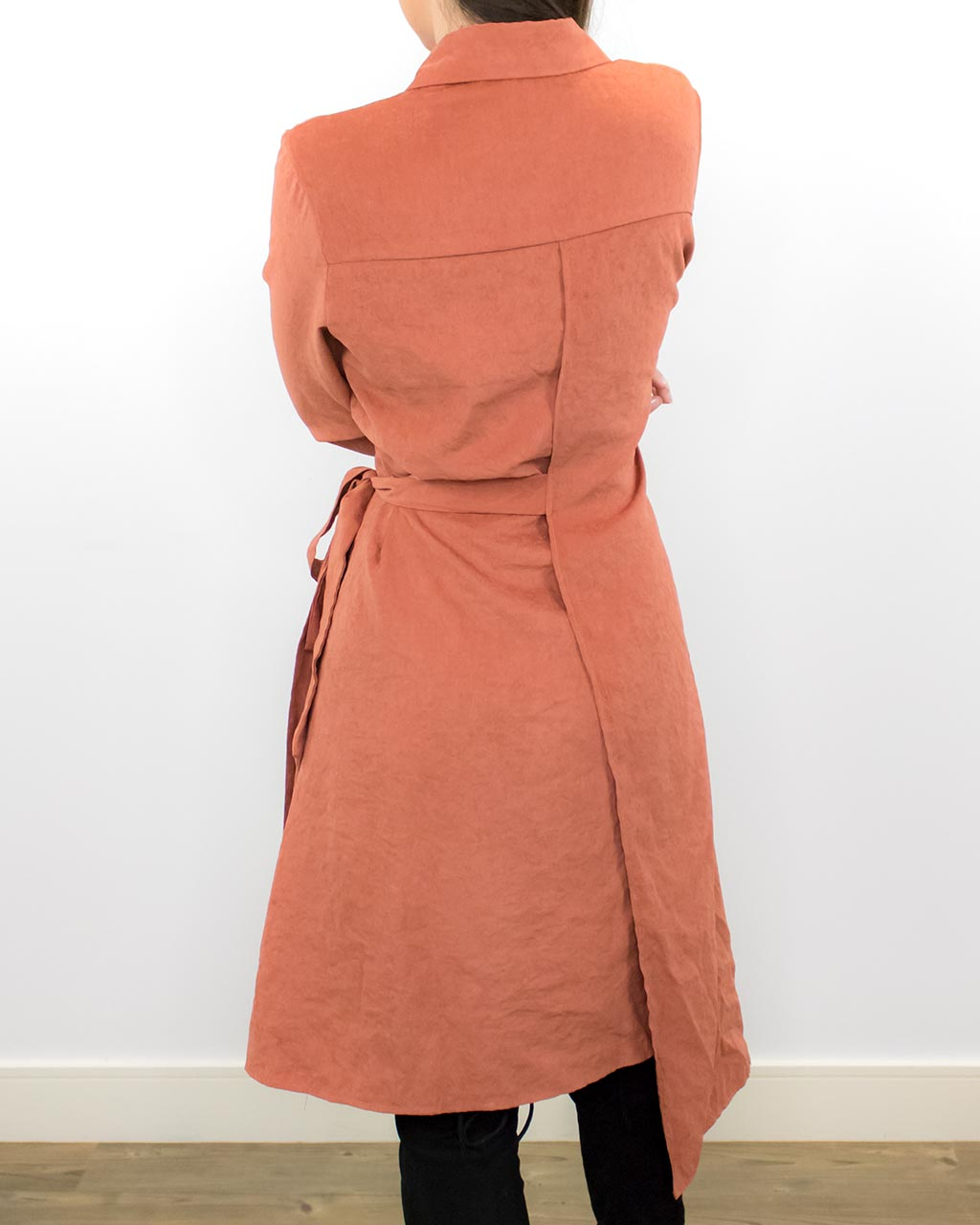 Tazia Orange Long Sleeve Midi Dress