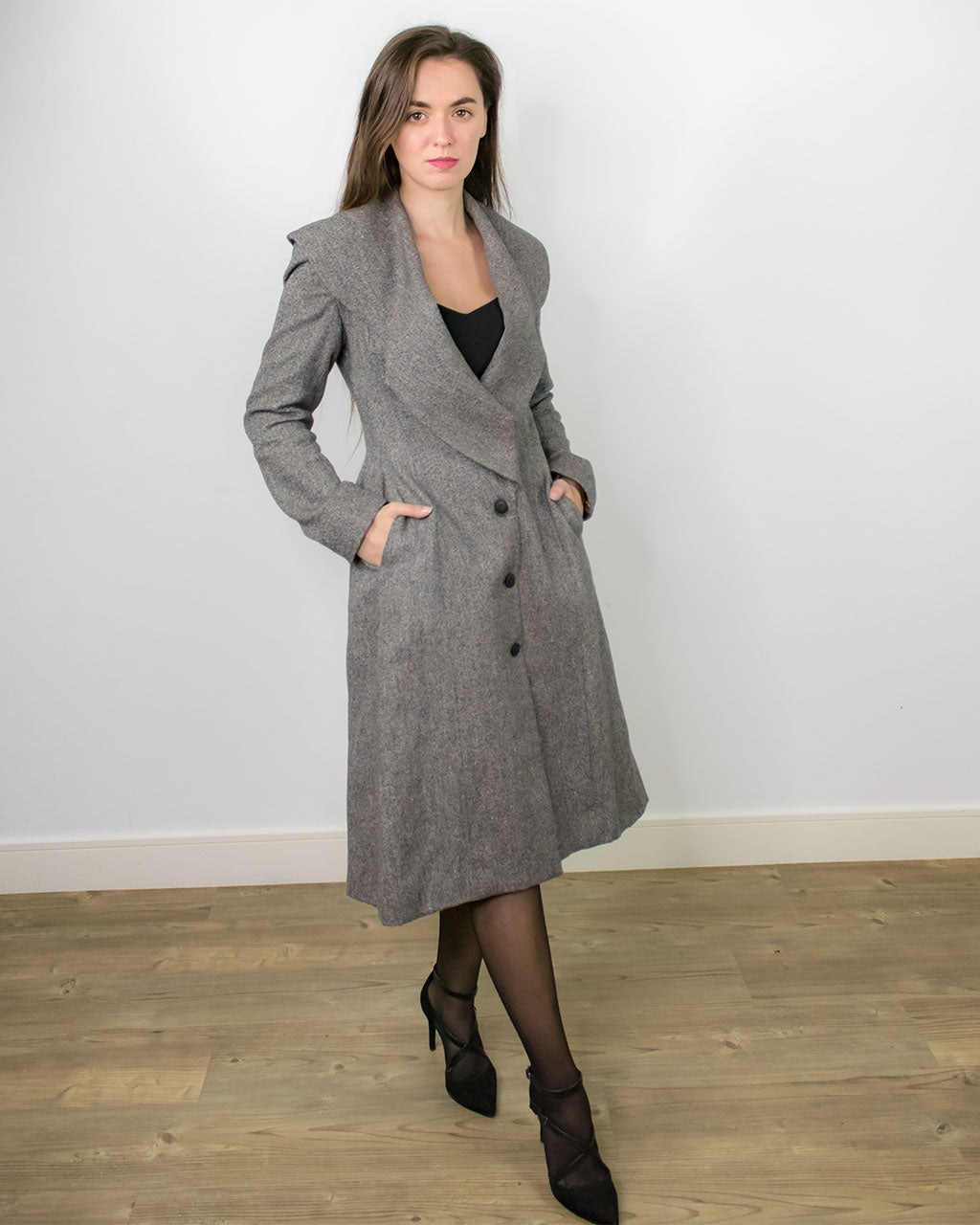 Baldo Fitted Longline Grey Coat