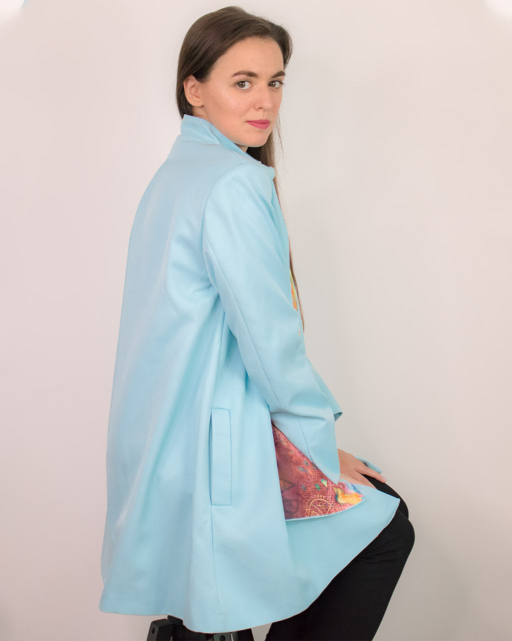 Baby blue a line oversized scarf spring gabardine coat Cardea by ADKN made in UK from sustainable recycled plastic bottles