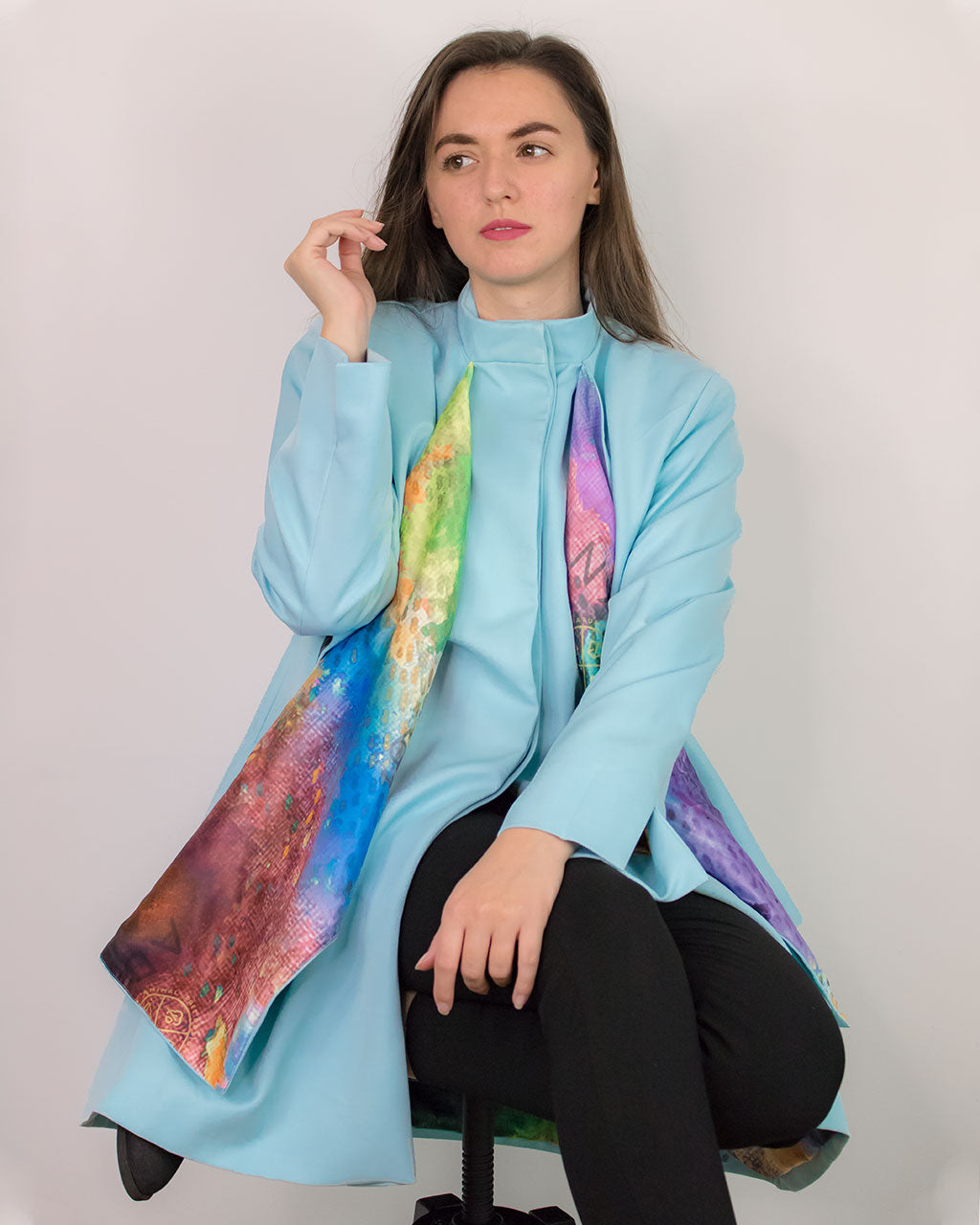 Cardea Pastel Blue Oversized Coat with Scarf