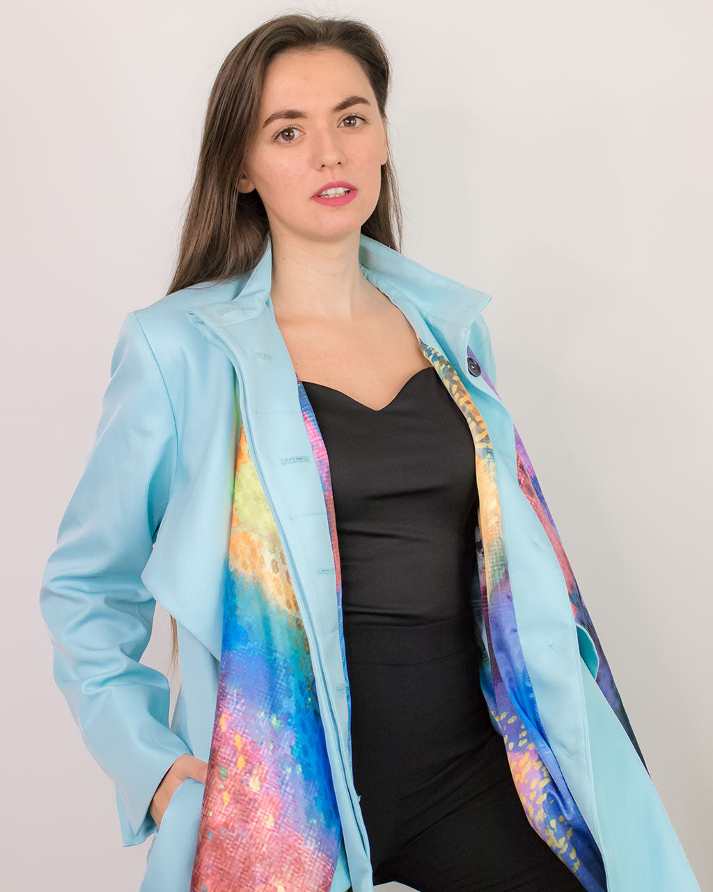 Pastel blue oversized trench coat Cardea by ADKN printed scarf detail from recycled plastic bottles satin perfect for spring