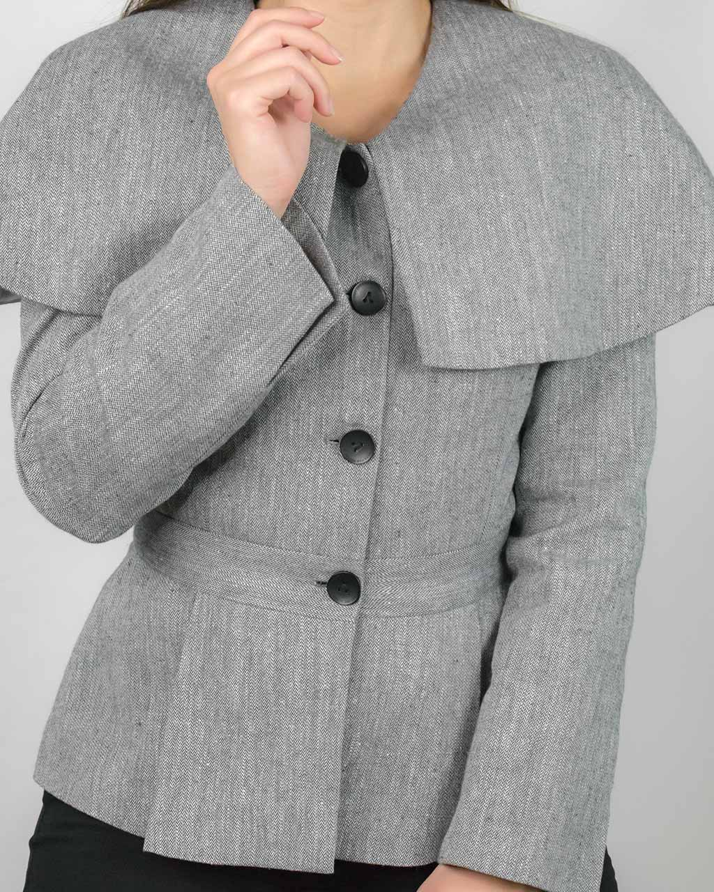 ADKN's grey houndstooth tweed Abbe grey coat blazer made from sustainable hemp